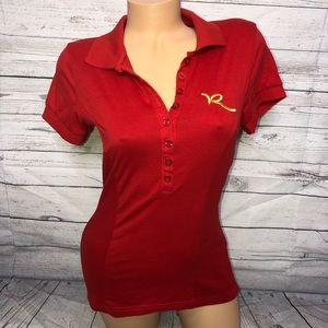 Rocawear open back red polo S